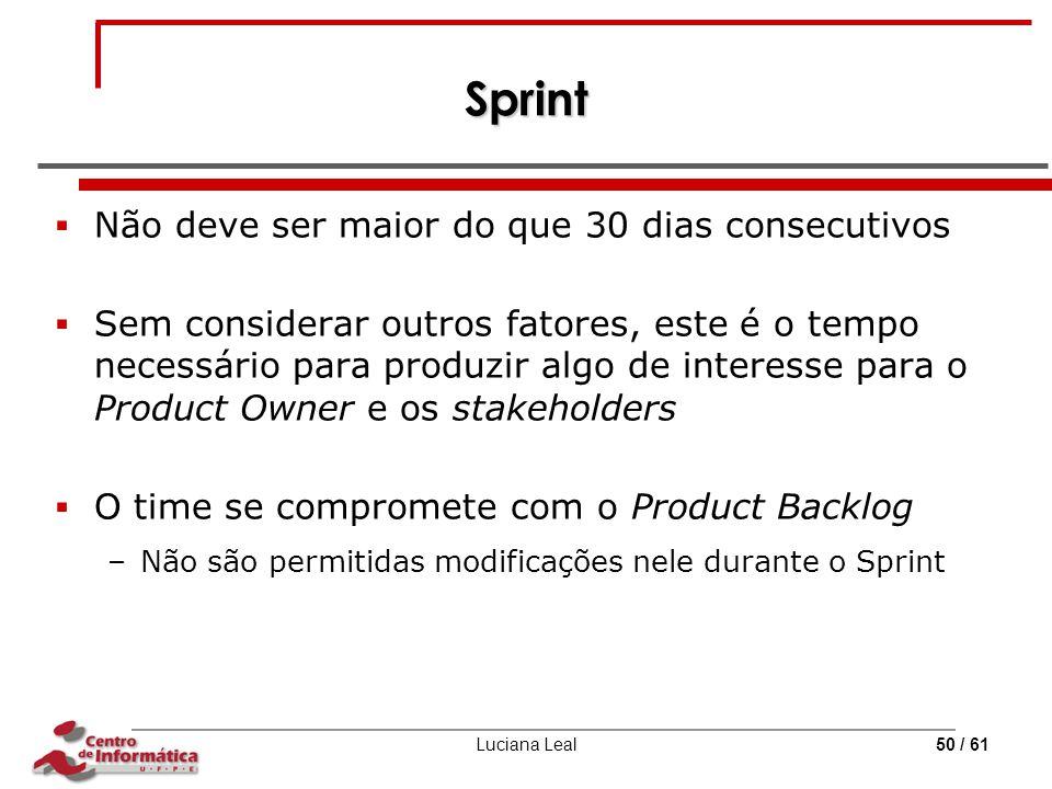 Luciana Leal50 / 61 Sprint  Não deve ser maior do que 30 dias consecutivos  Sem considerar outros fatores, este é o tempo necessário para produzir a
