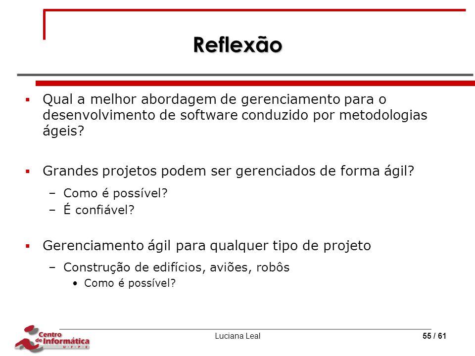 Luciana Leal55 / 61 Reflexão  Qual a melhor abordagem de gerenciamento para o desenvolvimento de software conduzido por metodologias ágeis?  Grandes