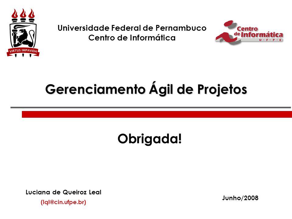Gerenciamento Ágil de Projetos Universidade Federal de Pernambuco Centro de Informática Luciana de Queiroz Leal (lql@cin.ufpe.br) Junho/2008 Obrigada!