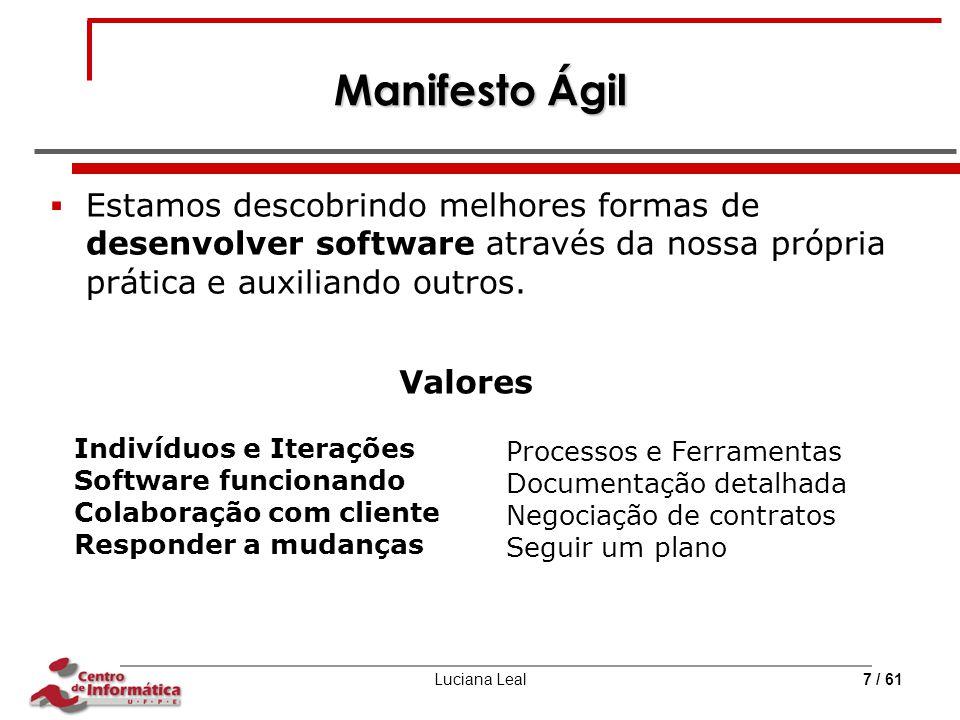 Luciana Leal7 / 61 Manifesto Ágil  Estamos descobrindo melhores formas de desenvolver software através da nossa própria prática e auxiliando outros.
