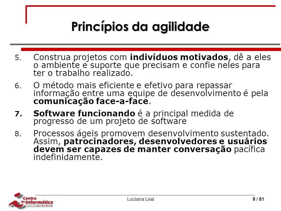 Luciana Leal9 / 61 Princípios da agilidade 5. Construa projetos com indivíduos motivados, dê a eles o ambiente e suporte que precisam e confie neles p