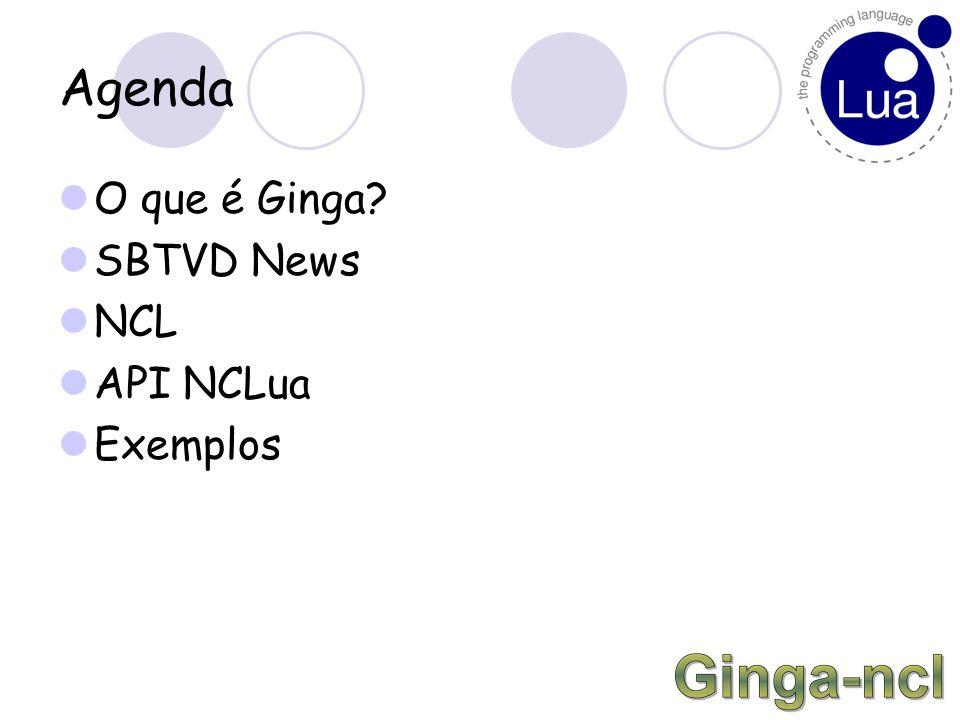 Agenda O que é Ginga SBTVD News NCL API NCLua Exemplos
