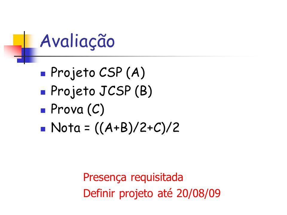 Avaliação Projeto CSP (A) Projeto JCSP (B) Prova (C) Nota = ((A+B)/2+C)/2 Presença requisitada Definir projeto até 20/08/09
