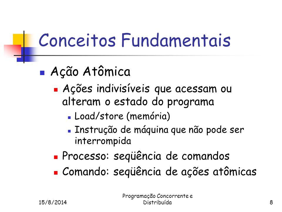15/8/2014 Programação Concorrente e Distribuída9 Conceitos Fundamentais História (trace) Execução particular de um Prog.