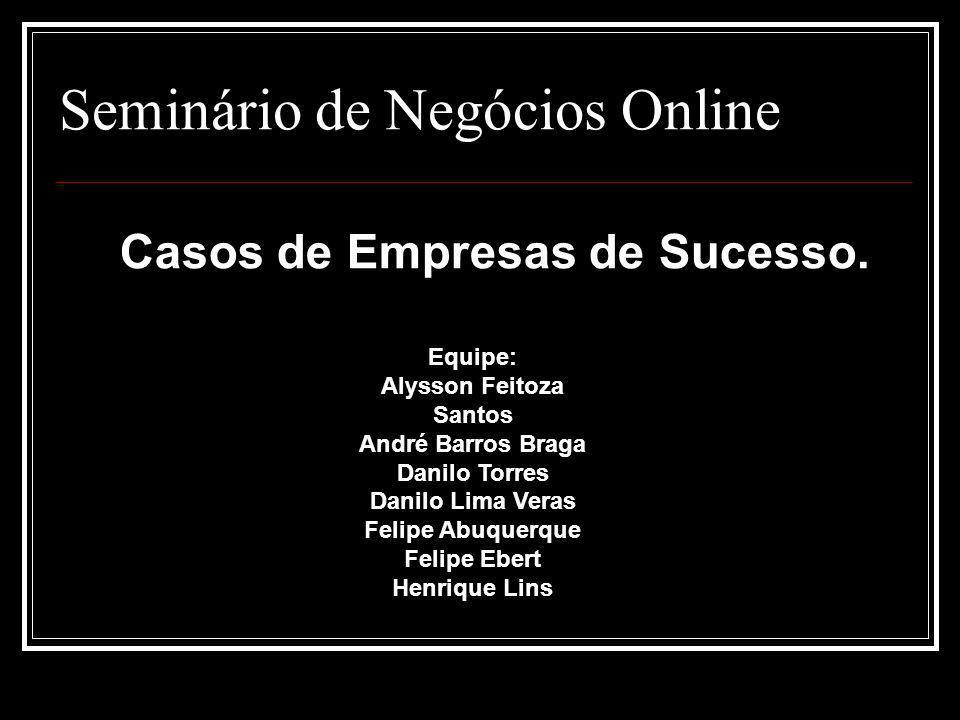 Seminário de Negócios Online Casos de Empresas de Sucesso. Equipe: Alysson Feitoza Santos André Barros Braga Danilo Torres Danilo Lima Veras Felipe Ab