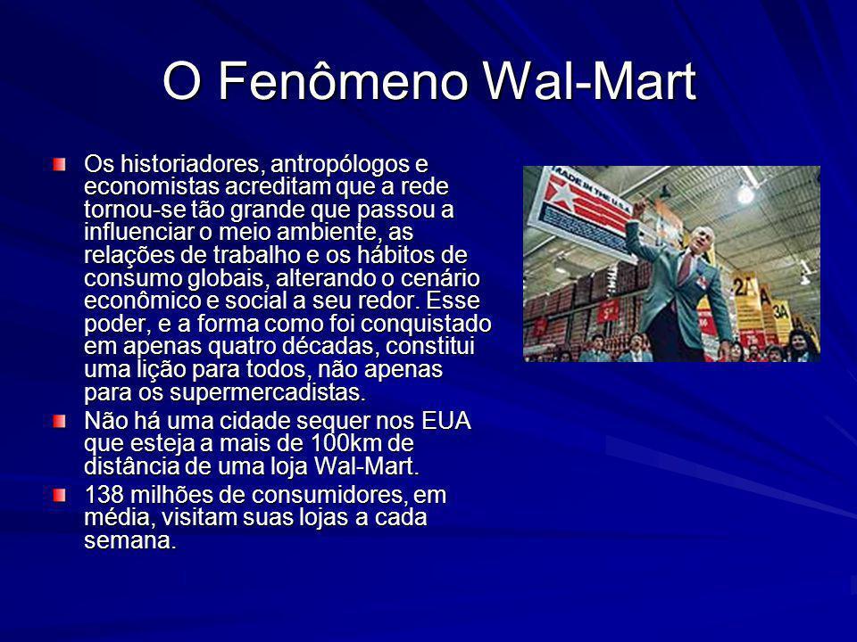 O Fenômeno Wal-Mart Os historiadores, antropólogos e economistas acreditam que a rede tornou-se tão grande que passou a influenciar o meio ambiente, as relações de trabalho e os hábitos de consumo globais, alterando o cenário econômico e social a seu redor.