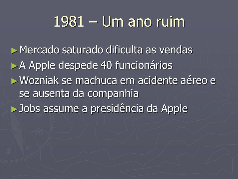 1981 – Um ano ruim ► Mercado saturado dificulta as vendas ► A Apple despede 40 funcionários ► Wozniak se machuca em acidente aéreo e se ausenta da companhia ► Jobs assume a presidência da Apple