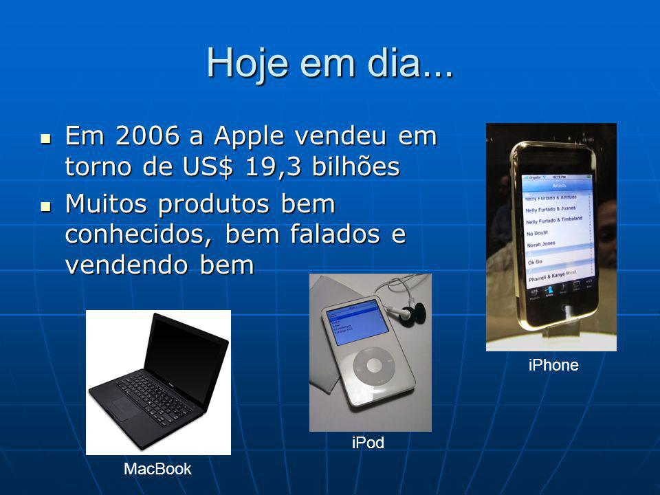 Hoje em dia... Em 2006 a Apple vendeu em torno de US$ 19,3 bilhões Em 2006 a Apple vendeu em torno de US$ 19,3 bilhões Muitos produtos bem conhecidos,