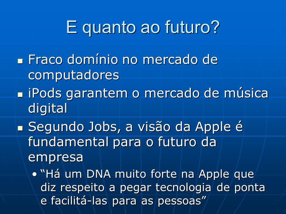 E quanto ao futuro? Fraco domínio no mercado de computadores Fraco domínio no mercado de computadores iPods garantem o mercado de música digital iPods