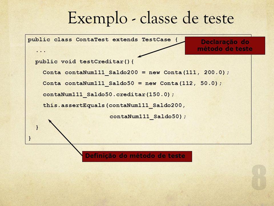 Exemplo - classe de teste public class ContaTest extends TestCase {...