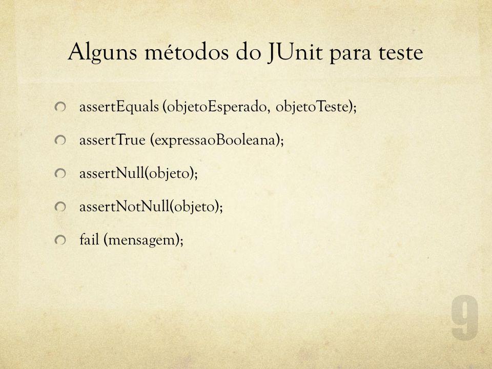 Alguns métodos do JUnit para teste assertEquals (objetoEsperado, objetoTeste); assertTrue (expressaoBooleana); assertNull(objeto); assertNotNull(objeto); fail (mensagem);