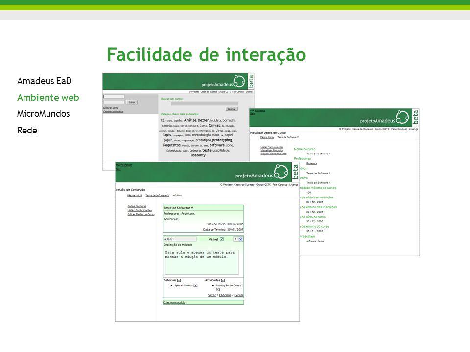 Facilidade de interação Amadeus EaD Ambiente web MicroMundos Rede