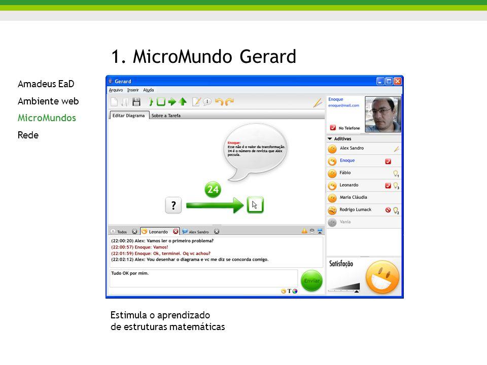 1. MicroMundo Gerard Estimula o aprendizado de estruturas matemáticas Amadeus EaD Ambiente web MicroMundos Rede