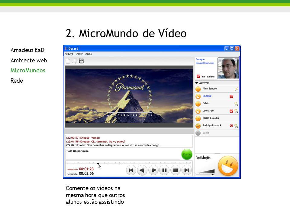 2. MicroMundo de Vídeo Comente os vídeos na mesma hora que outros alunos estão assistindo Amadeus EaD Ambiente web MicroMundos Rede
