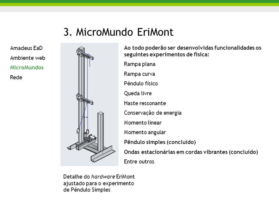 3. MicroMundo EriMont Ao todo poderão ser desenvolvidas funcionalidades os seguintes experimentos de fisica: Rampa plana Rampa curva Pêndulo físico Qu