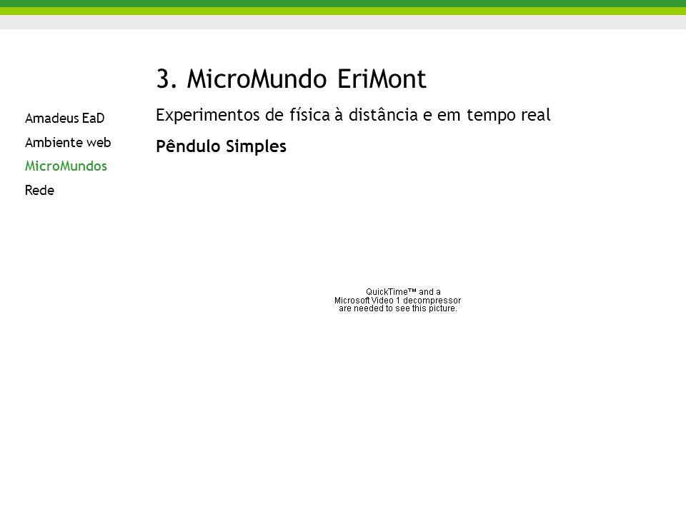 3. MicroMundo EriMont Experimentos de física à distância e em tempo real Pêndulo Simples Amadeus EaD Ambiente web MicroMundos Rede