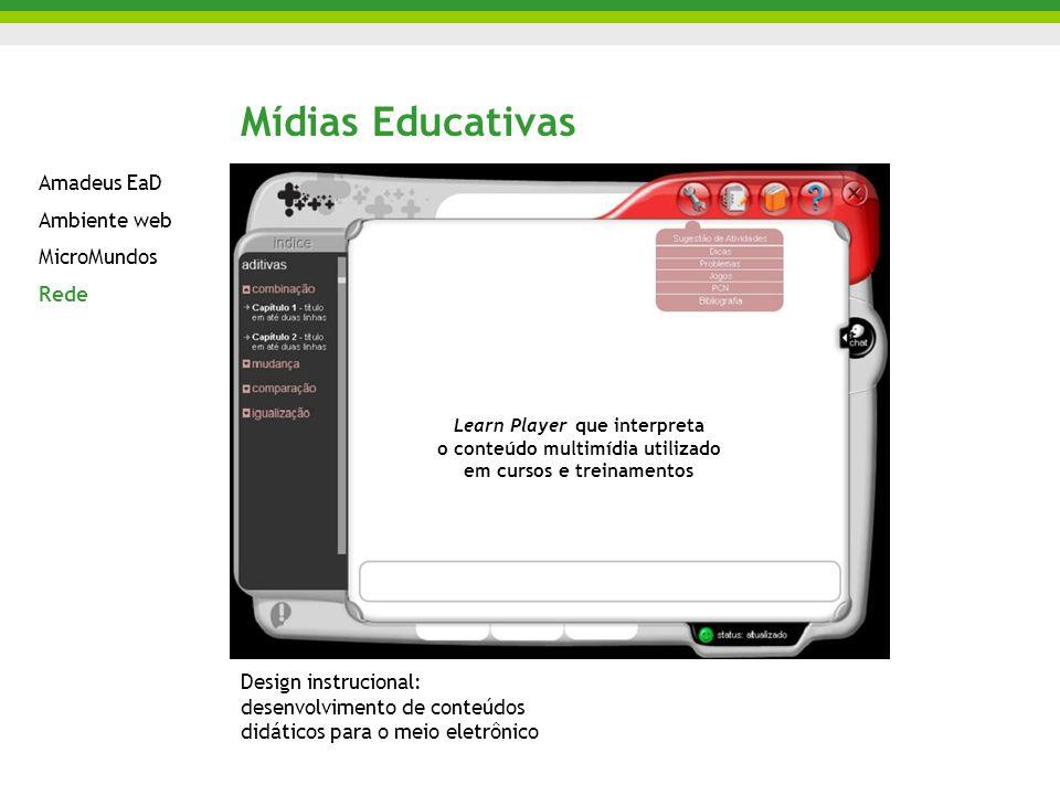 Mídias Educativas Amadeus EaD Ambiente web MicroMundos Rede Design instrucional: desenvolvimento de conteúdos didáticos para o meio eletrônico Learn Player que interpreta o conteúdo multimídia utilizado em cursos e treinamentos