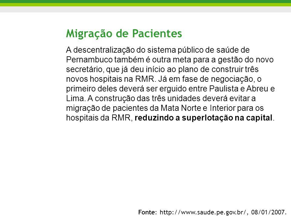 Migração de Pacientes A descentralização do sistema público de saúde de Pernambuco também é outra meta para a gestão do novo secretário, que já deu in