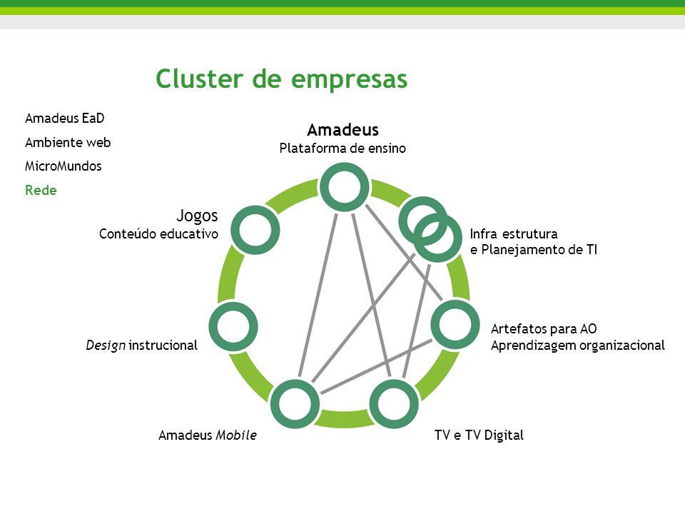 Cluster de empresas Amadeus Plataforma de ensino Jogos Conteúdo educativo Design instrucional Amadeus MobileTV e TV Digital Artefatos para AO Aprendizagem organizacional Infra estrutura e Planejamento de TI Amadeus EaD Ambiente web MicroMundos Rede