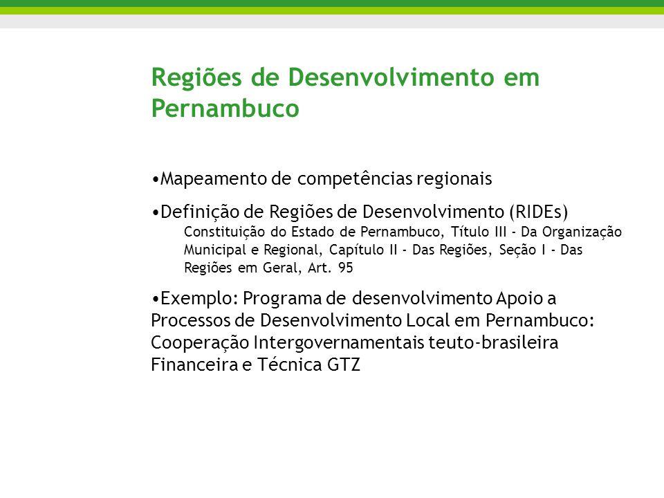 Regiões de Desenvolvimento em Pernambuco Mapeamento de competências regionais Definição de Regiões de Desenvolvimento (RIDEs) Constituição do Estado de Pernambuco, Título III - Da Organização Municipal e Regional, Capítulo II - Das Regiões, Seção I - Das Regiões em Geral, Art.
