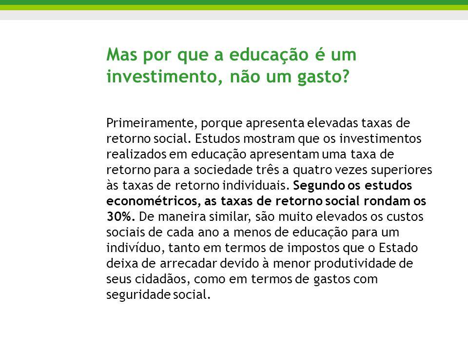 Mas por que a educação é um investimento, não um gasto? Primeiramente, porque apresenta elevadas taxas de retorno social. Estudos mostram que os inves