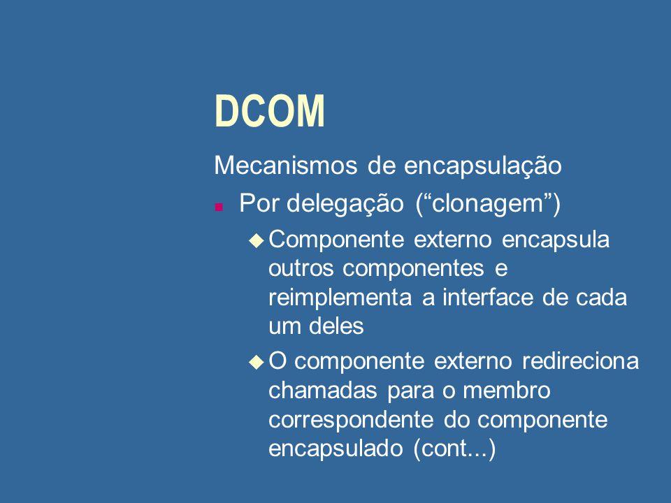 """DCOM Mecanismos de encapsulação n Por delegação (""""clonagem"""") u Componente externo encapsula outros componentes e reimplementa a interface de cada um d"""