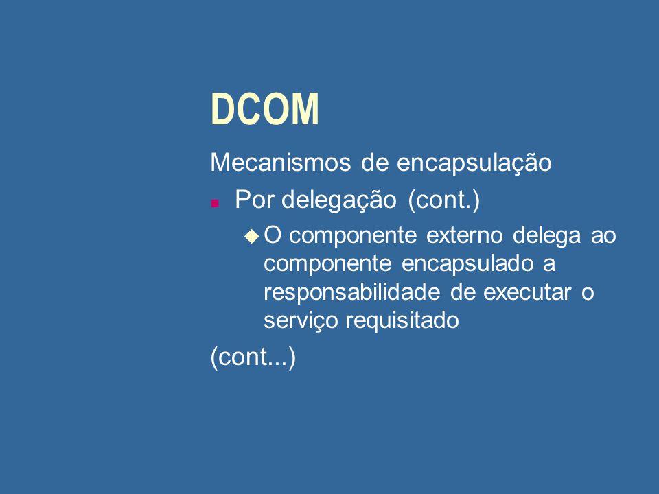 DCOM Mecanismos de encapsulação n Por delegação (cont.) u O componente externo delega ao componente encapsulado a responsabilidade de executar o servi
