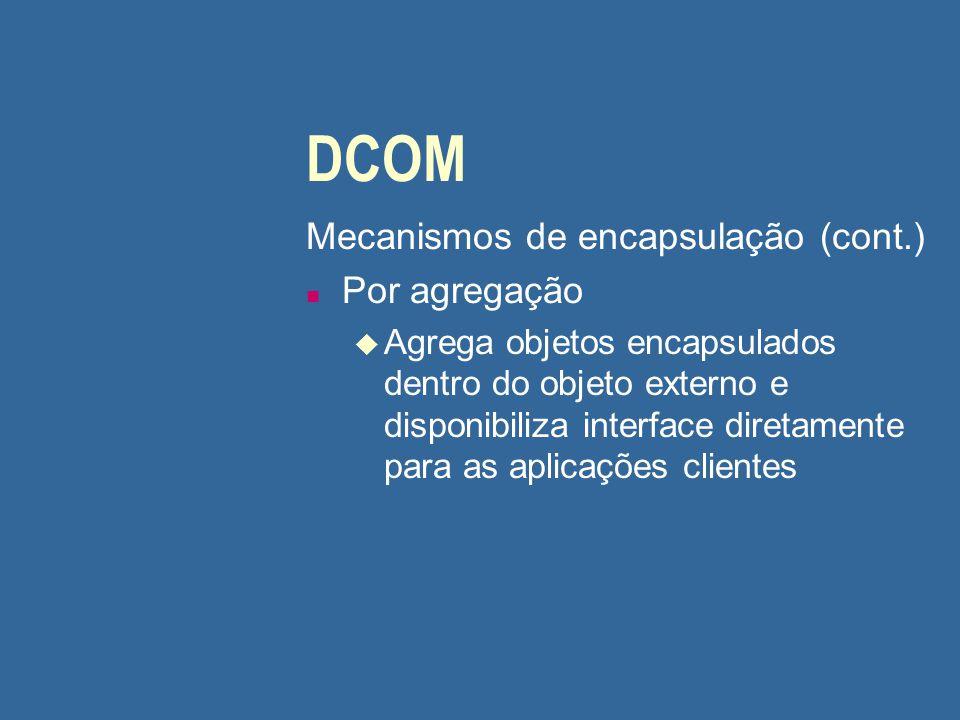 DCOM Mecanismos de encapsulação (cont.) n Por agregação u Agrega objetos encapsulados dentro do objeto externo e disponibiliza interface diretamente p