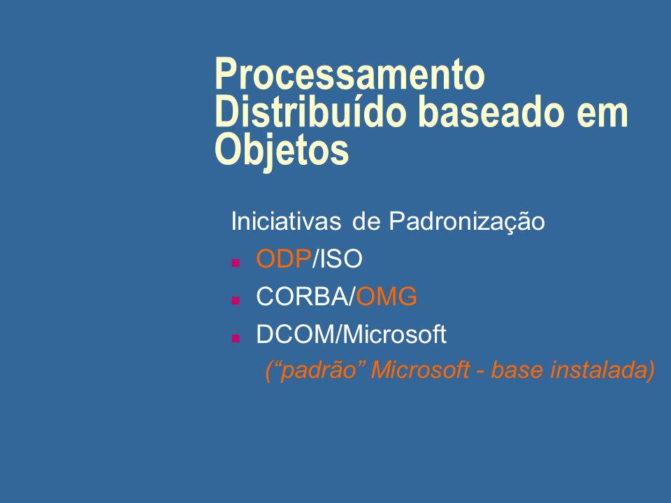 """Processamento Distribuído baseado em Objetos Iniciativas de Padronização n ODP/ISO n CORBA/OMG n DCOM/Microsoft (""""padrão"""" Microsoft - base instalada)"""
