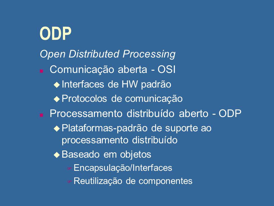 ODP Open Distributed Processing n Comunicação aberta - OSI u Interfaces de HW padrão u Protocolos de comunicação n Processamento distribuído aberto -
