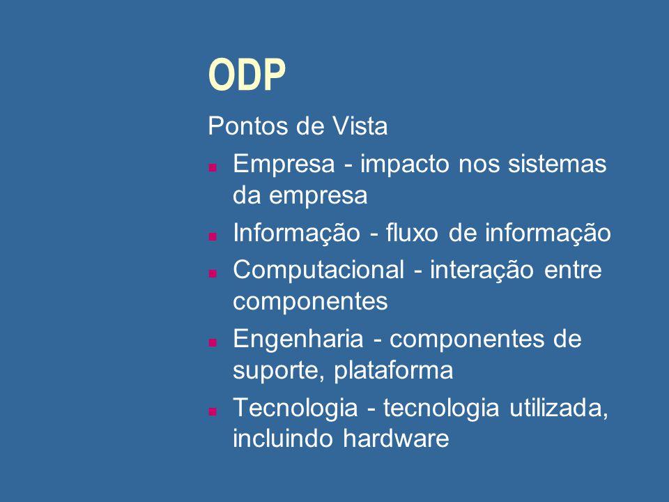 ODP Pontos de Vista n Empresa - impacto nos sistemas da empresa n Informação - fluxo de informação n Computacional - interação entre componentes n Eng
