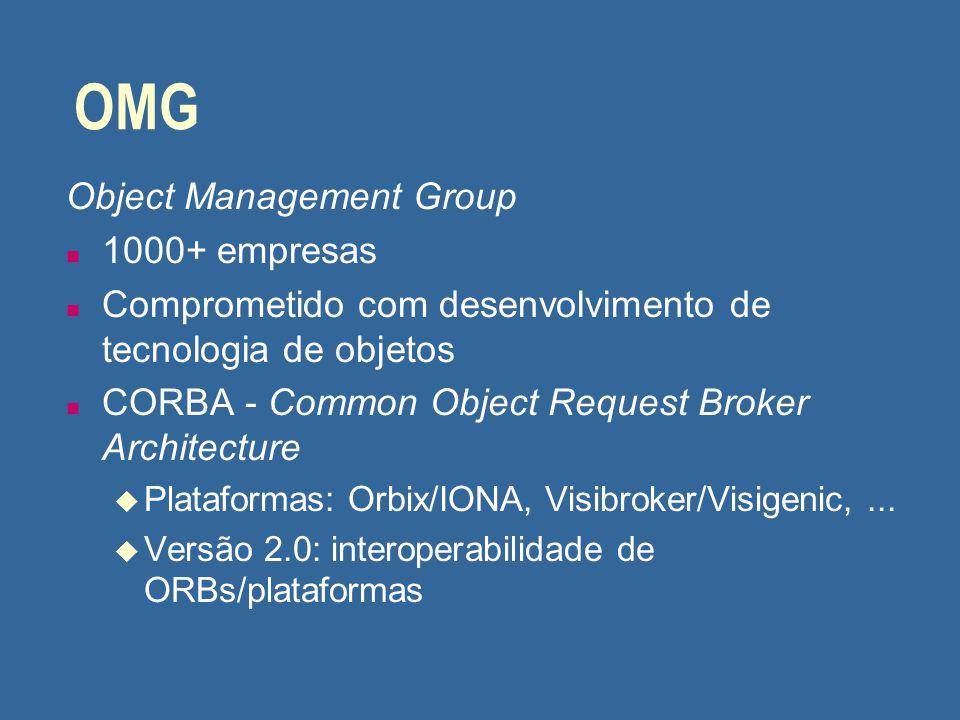 OMG Object Management Group n 1000+ empresas n Comprometido com desenvolvimento de tecnologia de objetos n CORBA - Common Object Request Broker Archit