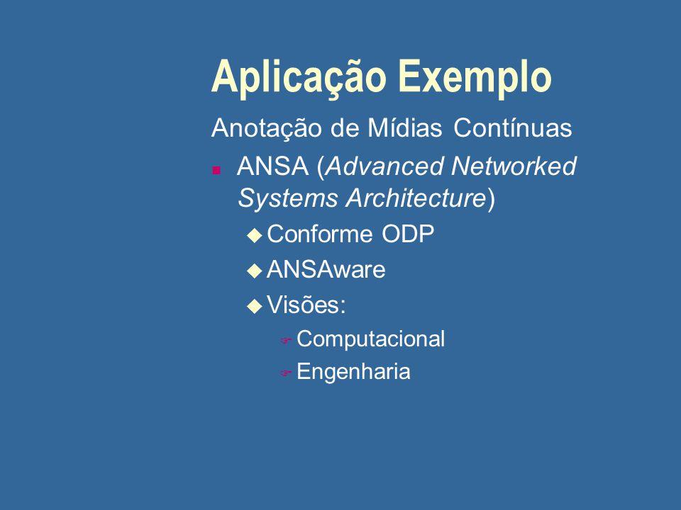 Aplicação Exemplo Anotação de Mídias Contínuas n ANSA (Advanced Networked Systems Architecture) u Conforme ODP u ANSAware u Visões: F Computacional F