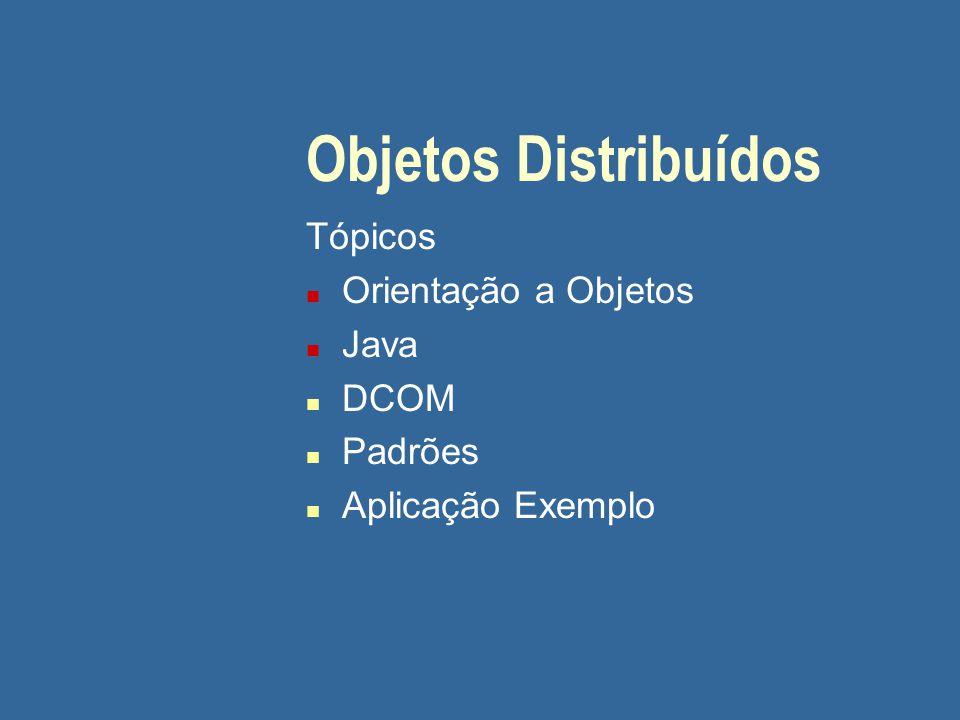 DCOM n ORB (Object Request Broker) específico para OLE/ActiveX n Como CORBA, separa a interface de um objeto de seu implementação n Interfaces declaradas usando uma IDL n TypeLibrary: repositório de interfaces