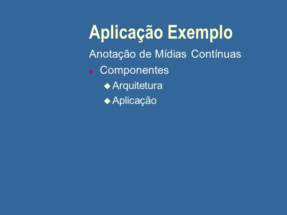 Aplicação Exemplo Anotação de Mídias Contínuas n Componentes u Arquitetura u Aplicação