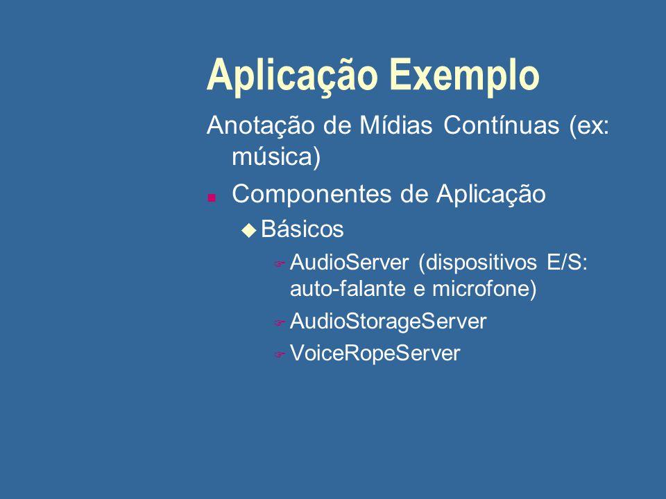 Aplicação Exemplo Anotação de Mídias Contínuas (ex: música) n Componentes de Aplicação u Básicos F AudioServer (dispositivos E/S: auto-falante e micro