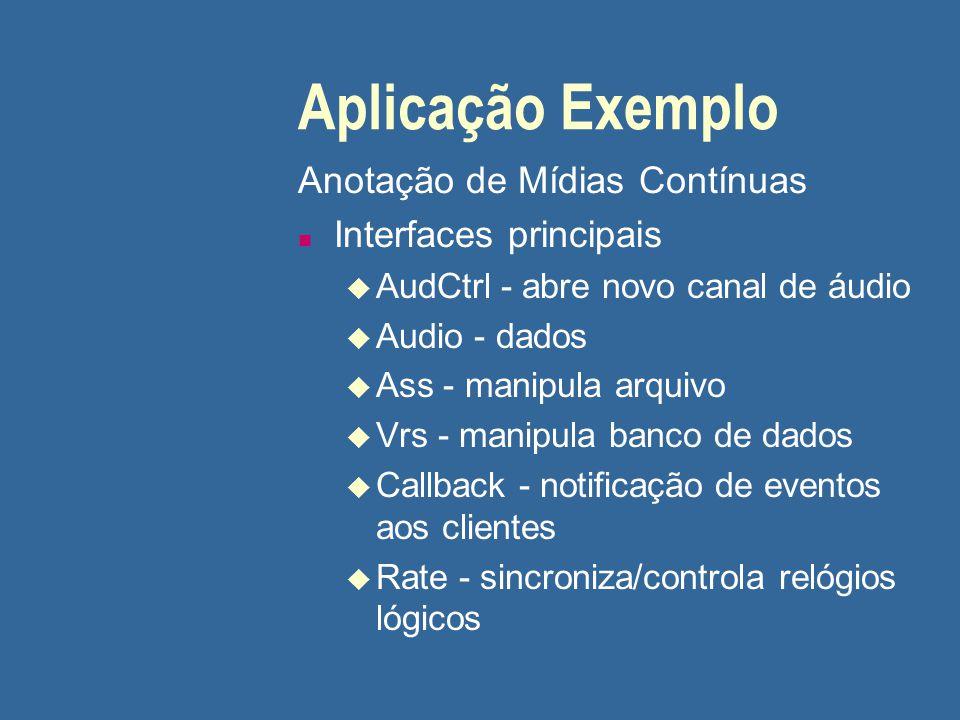 Aplicação Exemplo Anotação de Mídias Contínuas n Interfaces principais u AudCtrl - abre novo canal de áudio u Audio - dados u Ass - manipula arquivo u