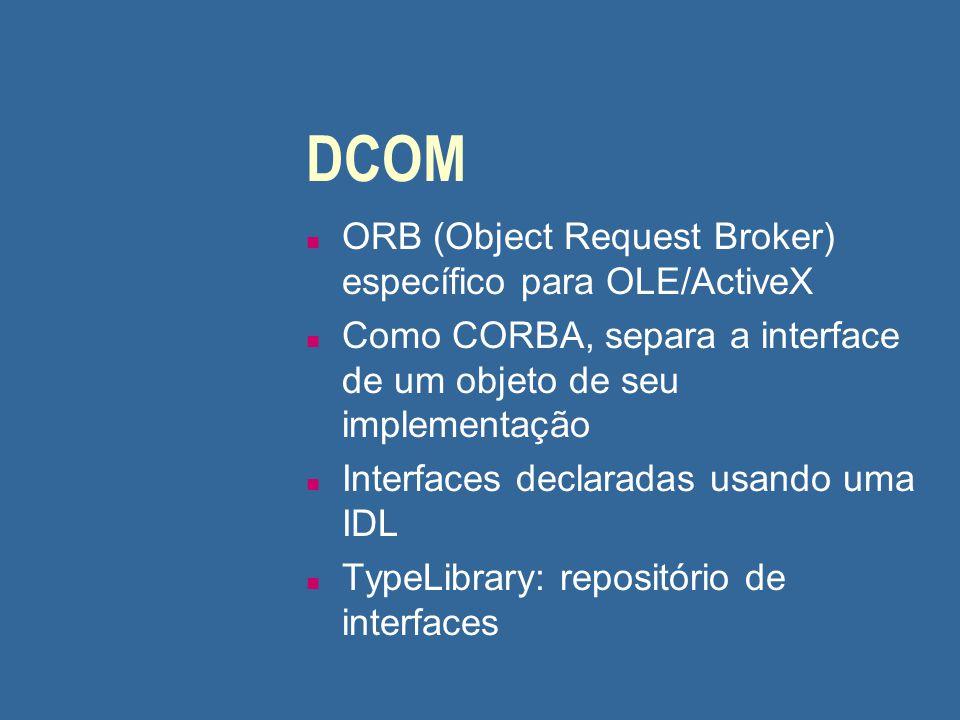 DCOM (cont.) n Um objeto DCOM suporta uma ou mais interfaces Servidor de objetos deve implementar a interface IClassFactory, que fornece mecanismos para instanciar objetos