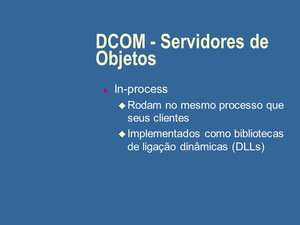 DCOM - Servidores de Objetos (cont.) n Out-of-process locais u Rodam em processo distinto do de seus clientes u Comunicação através de Lightweight RPC (LRPC)