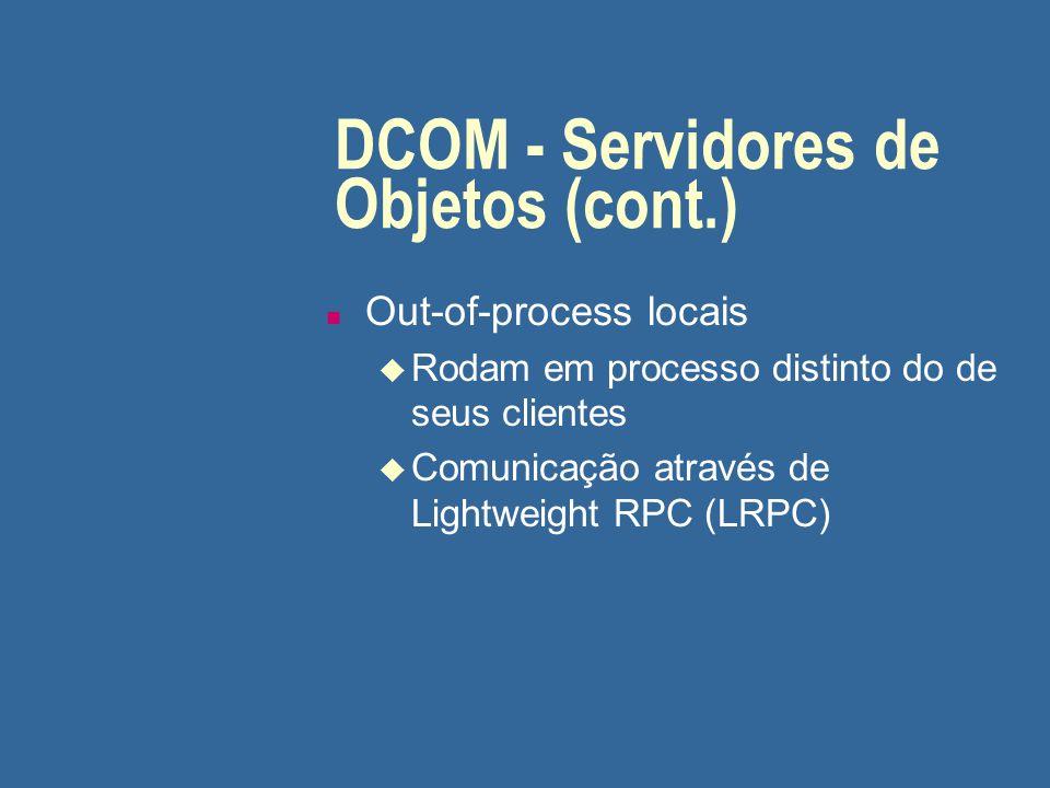 DCOM - Servidores de Objetos (cont.) n Out-of-process remotos u Comunicação através de RPC semelhante ao DCE (Distributed Computing Environment), como em CORBA n Assim, a comunicação entre uma aplicação cliente e um servidor de objetos, local ou remoto, é transparente