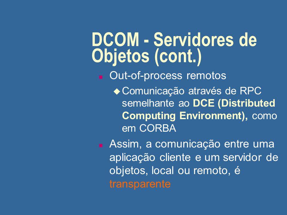 DCOM - Servidores de Objetos (cont.) n Out-of-process remotos u Comunicação através de RPC semelhante ao DCE (Distributed Computing Environment), como