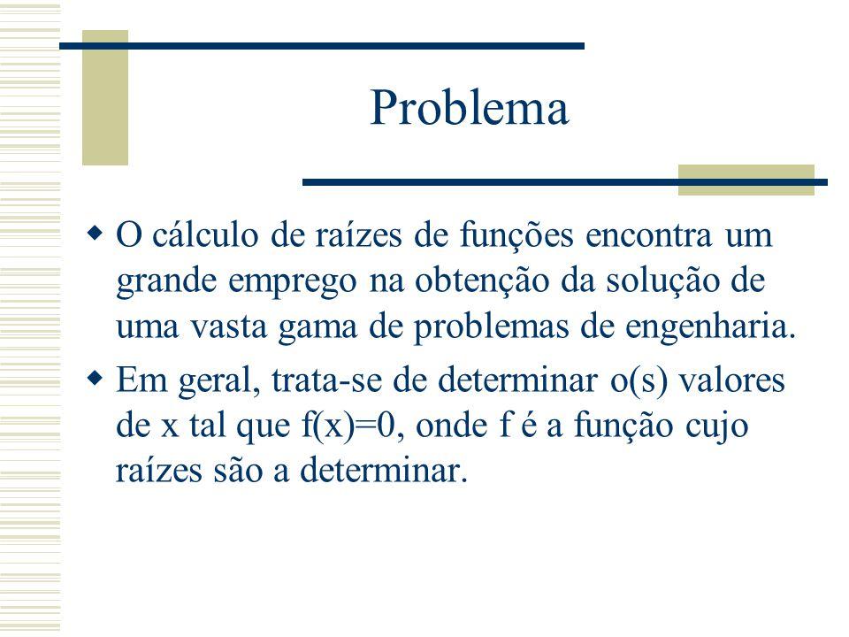 Problema  O cálculo de raízes de funções encontra um grande emprego na obtenção da solução de uma vasta gama de problemas de engenharia.  Em geral,