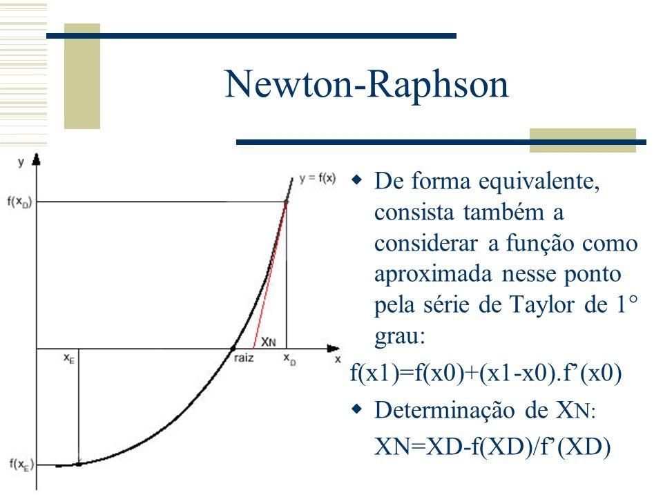 Newton-Raphson  De forma equivalente, consista também a considerar a função como aproximada nesse ponto pela série de Taylor de 1° grau: f(x1)=f(x0)+(x1-x0).f'(x0)  Determinação de X N: XN=XD-f(XD)/f'(XD)