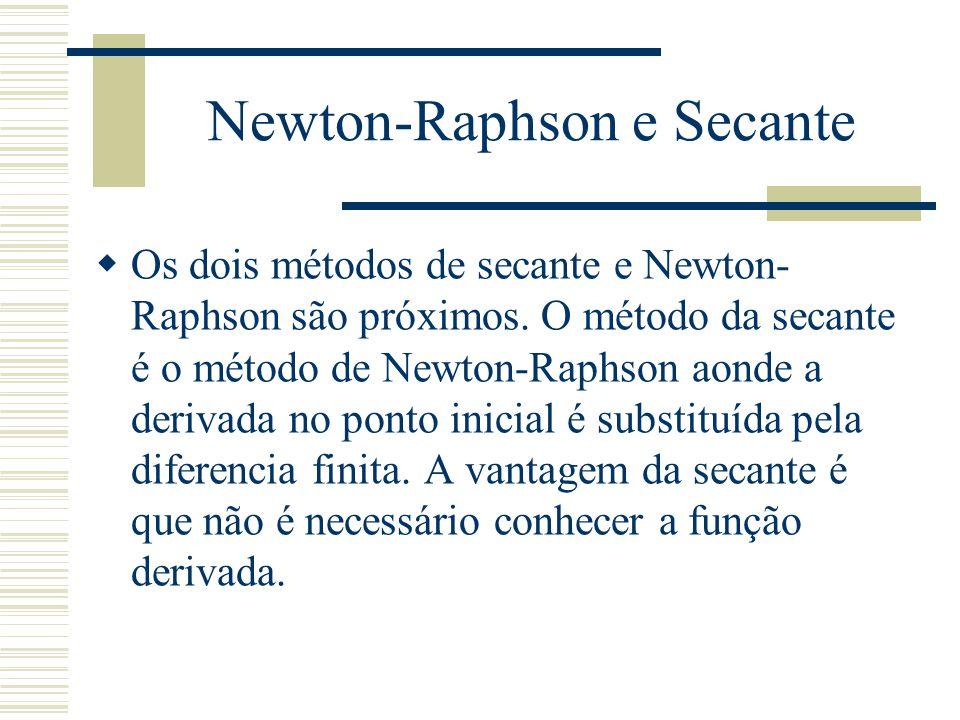 Newton-Raphson e Secante  Os dois métodos de secante e Newton- Raphson são próximos. O método da secante é o método de Newton-Raphson aonde a derivad