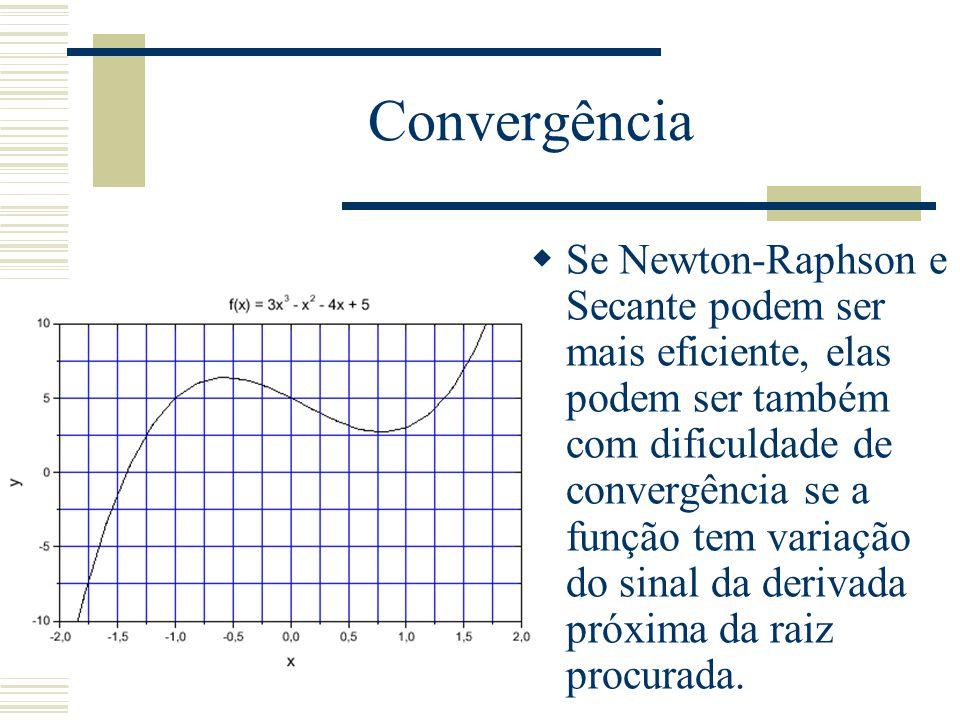 Convergência  Se Newton-Raphson e Secante podem ser mais eficiente, elas podem ser também com dificuldade de convergência se a função tem variação do sinal da derivada próxima da raiz procurada.