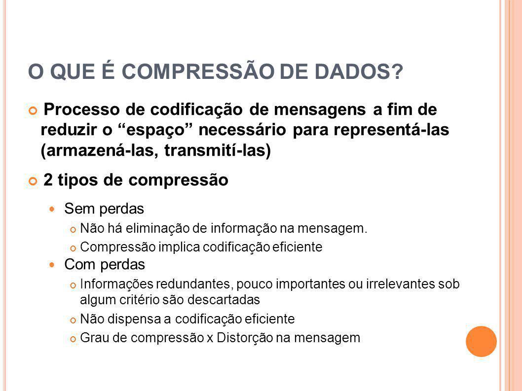 COMPRESSÃO SEM PERDAS Os compressores sem perdas, em geral possuem os seguintes passos Exemplo: FLAC
