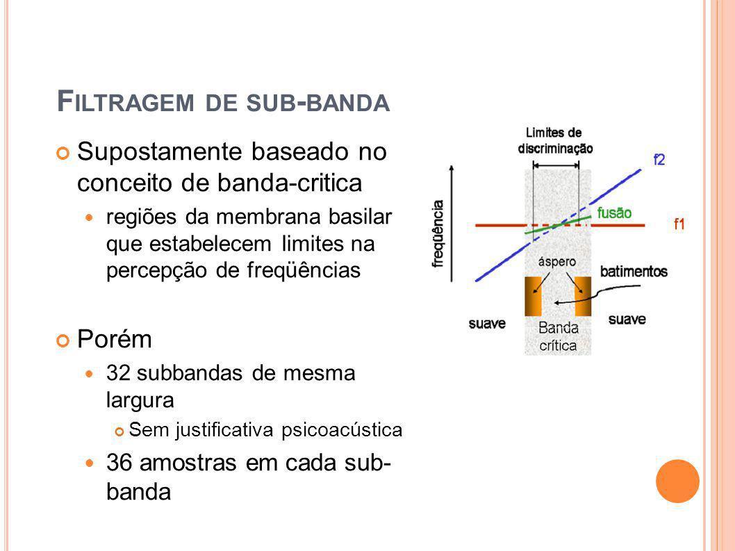 F ILTRAGEM DE SUB - BANDA Supostamente baseado no conceito de banda-critica regiões da membrana basilar que estabelecem limites na percepção de freqüê