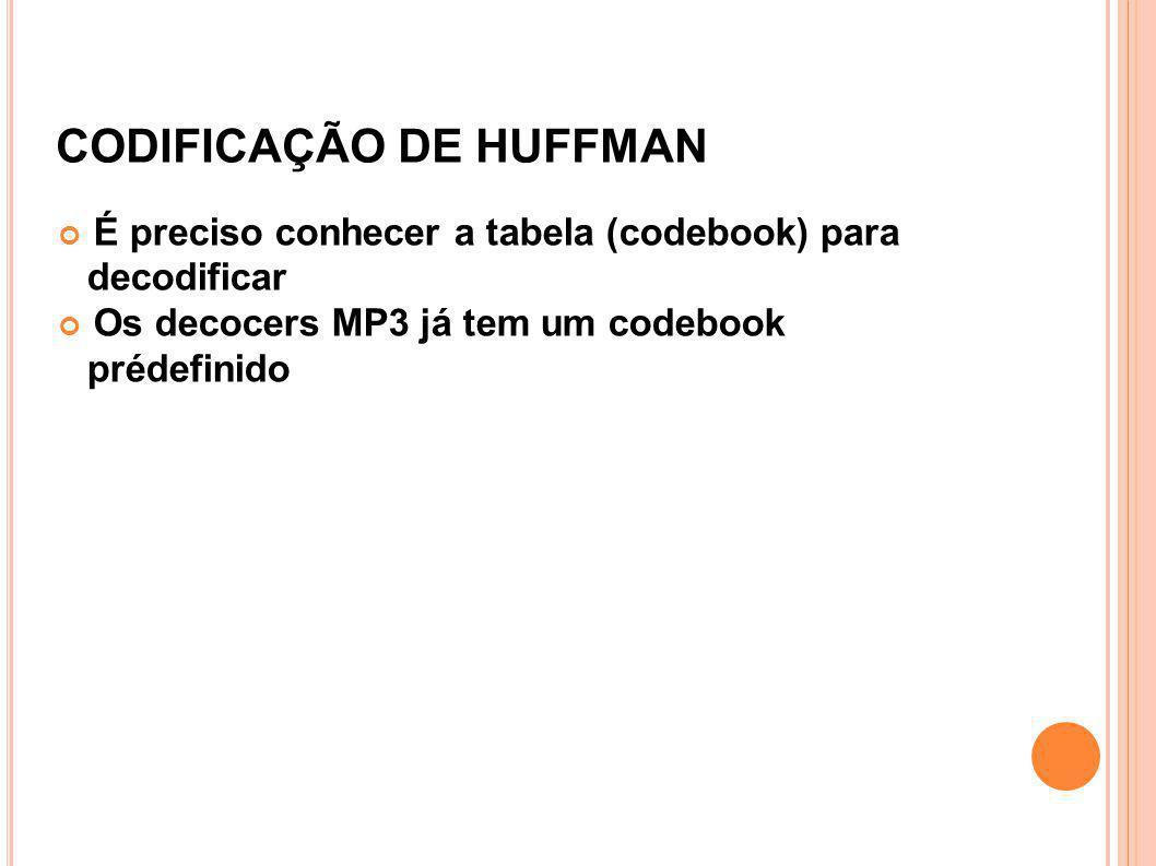 CODIFICAÇÃO DE HUFFMAN É preciso conhecer a tabela (codebook) para decodificar Os decocers MP3 já tem um codebook prédefinido