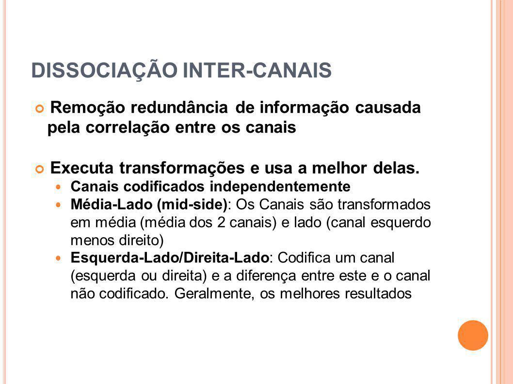 DISSOCIAÇÃO INTER-CANAIS Remoção redundância de informação causada pela correlação entre os canais Executa transformações e usa a melhor delas. Canais