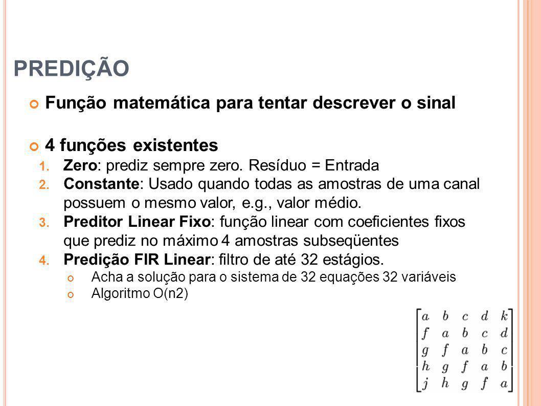 PREDIÇÃO Função matemática para tentar descrever o sinal 4 funções existentes 1. Zero: prediz sempre zero. Resíduo = Entrada 2. Constante: Usado quand
